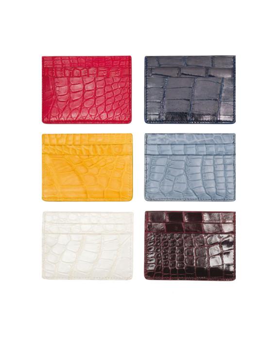 Porta carte di credito in coccodrillo in vari colori